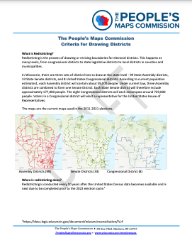 This is a draft memorandum outlining the criteria the People's Maps Commission will be using to draw maps.